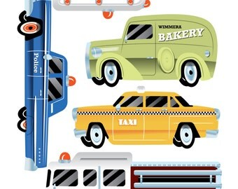 Vintage Cars Wall Decals (PVC free fabric wall sticker) 'Highway' favourites - A4