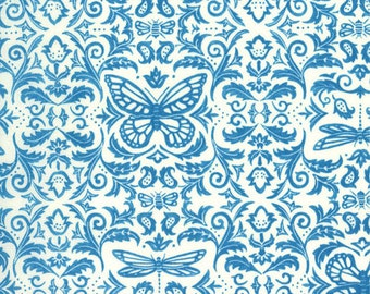 Butterfly toile shabby fabric French Blue aqua dragonfly bee TEND The EARTH Deb Strain Moda modern quilt 1 yard 19541-20