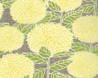 Yellow mums fabric 2 yds BLUEBIRD PARK Sunrise  Moda modern quilting sewing Kate & Birdie stone taupe large floral 2 full yards 13101-18