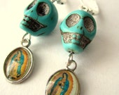 Day of the dead earrings, Turquoise Skull and Virgin, Halloween Jewelry, Dia de los muertos