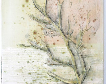 Large nature inspired tile with a tree motif. Woodland, spring, chartreuse, tan, texture, hand painted.