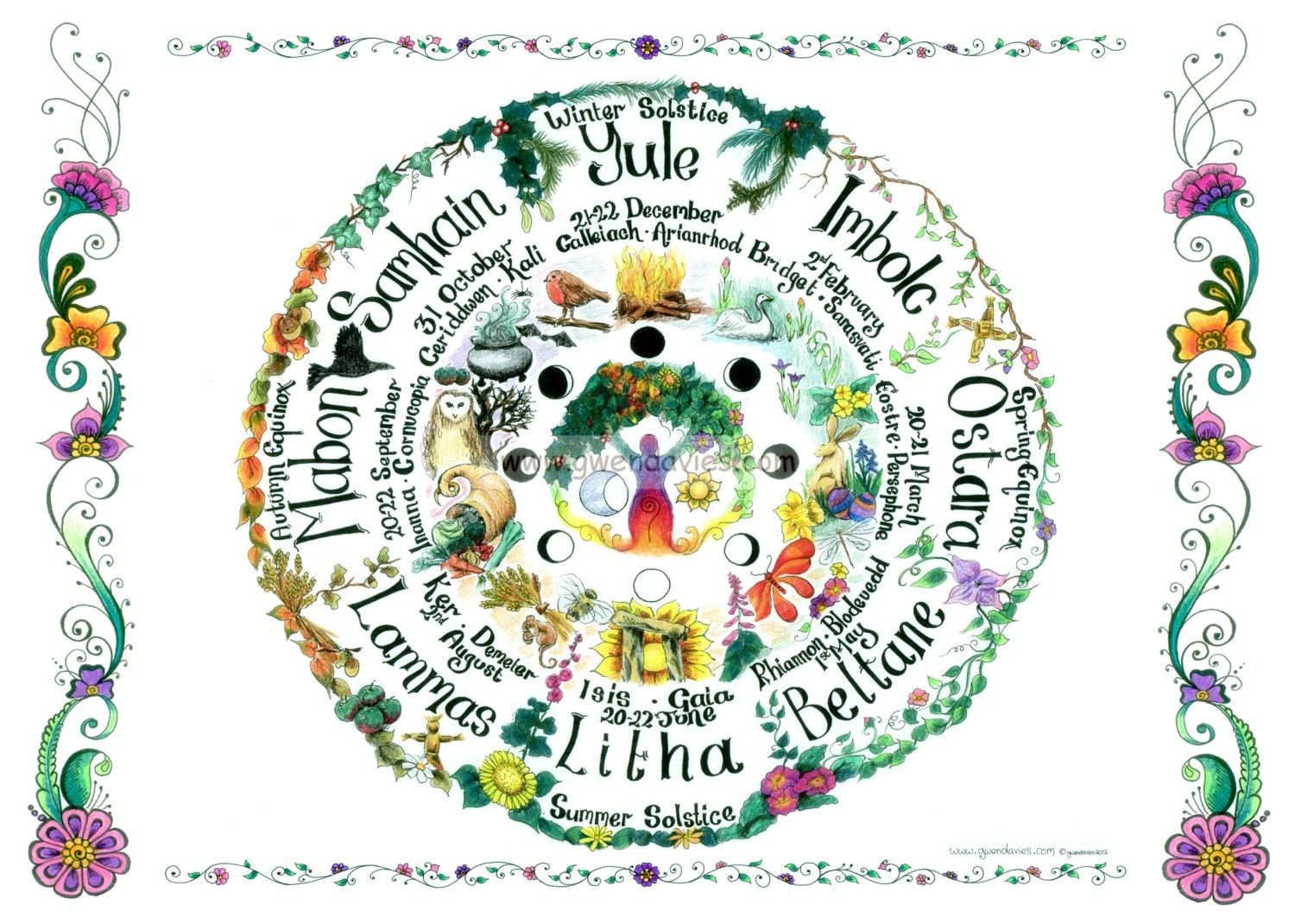 Wheel Of The Year A3 Planner Size Pagan Goddess Wall Art Image