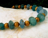 Soft Blue Green Fluorite Necklace Matte Fluorite Buttons with Vintage Etched Brass Beads Sea Glass Finish Gorgeous Colors Jewelry - CatchingWaves