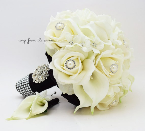 Real Touch Bridal Bouquet Stephanotis Roses Calla Lilies in Black and White & Groom's Boutonniere - Customize for Your Colors