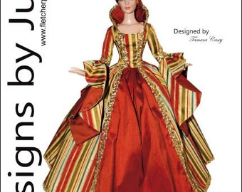 """Enchanted Court Gown Pattern for 16"""" Tyler Wentworth Dolls Tonner"""