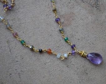 multi gemstone beaded chain necklace gold filled amethyst teardrop February birthstone