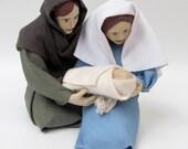 Handmade Nativity Family Holding Baby