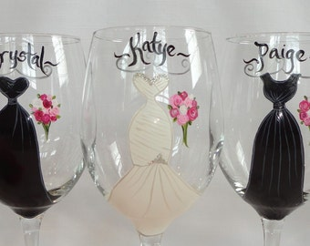 "Hand Painted ""EXACT DRESS REPLICAS"" of Your Bridesmaid Dress Wine Glasses - Personalized to Your Dresses - Bridal Glassware"