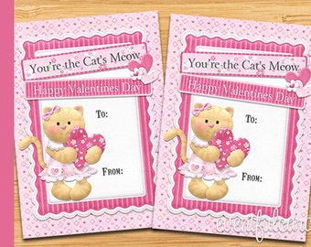 Kitty Cat Valentine Card - Printable Valentines Day Cards