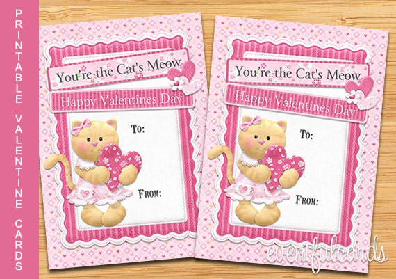 Kitty Cat Valentine Card - Printable Valentines Day Cards ...