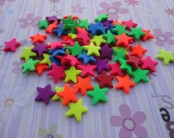 Wholesale 50pcs 22mmx22mm Acrylic Neon/Rainbow pentagram  Shape Beads with 2mm Hole