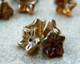 Silver Picasso flower glass beads, Czech glass 5-petal trumpet flower beads, 8X5mm, Opal glass & Silver Picasso (20pcs) NEW
