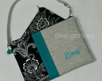 Personalized Japanese Teal Grey Black Paisley iPhone 6 Plus Phone Case Pouch Wristlet  Extra Zipper Pouch Available in Shimmer Linen Also