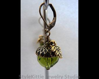 Acorn Earring, Oak Leaf, Dangle Earrings, Antiqued Brass, Czech Glass, Swarovski Crystal, Olivine Green, Mocca Brown, Leverback, Jewelry