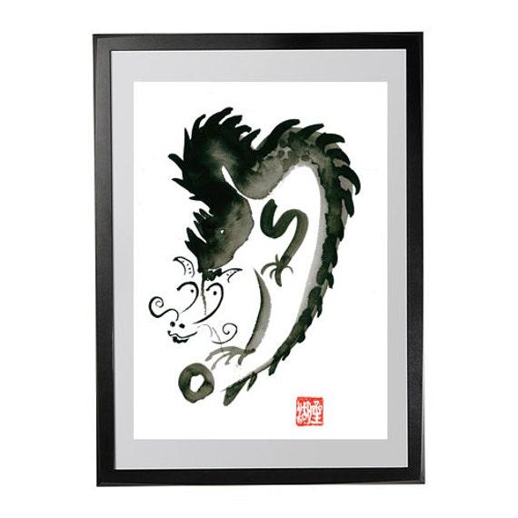 Dragon painting, Chinese Zodiac Year of the Dragon, Zen Art Sumi Ink Original Painting, zen meditation decor, yoga art, 6 x 9, taoist art