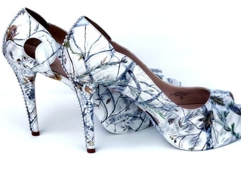 snow white camo, hand painted women's wedding bridal shoes, custom heels or flats