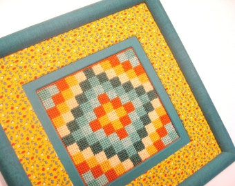 Vintage Needepoint Quilt Square Wall Hanging, Vintage Needlework, Turquoise Yellow Vintage Wall Hanging, Quilt and Needlepoint Wall Decor