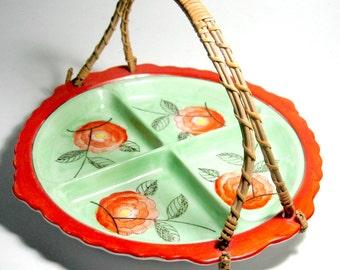 Hand Painted Tashiro Shoten Ltd Divided Dish, Wicker Handle Japanese Dish, Art Deco Hand Painted Orange Green Floral Japanese Server