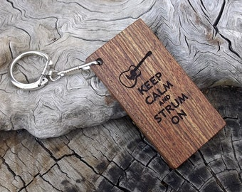 Wooden Key Chain - Key Ring - Premium Quality - Handmade - Made With Caribbean Rosewood - Laser Engraved Both Sides - Guitar Themed Design