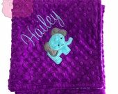 Elephant Blanket Personalized Minky Blanket , Choose your Color, Minky Elephant Applique Blanket, Elephant Minky Blanket, Minky Baby Blanket