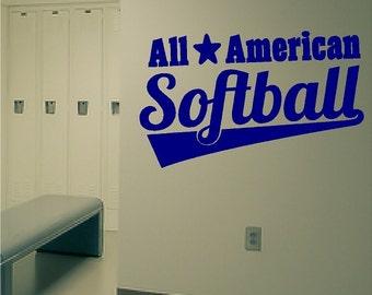 All American Softball Decal Wall Sticker Removable Softball Wall Art