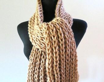 FREE US SHIPPING - Dark Beige Tweed Oatmeal Wheat Color Knitted Chunky Yarn Men Women Unisex Scarf