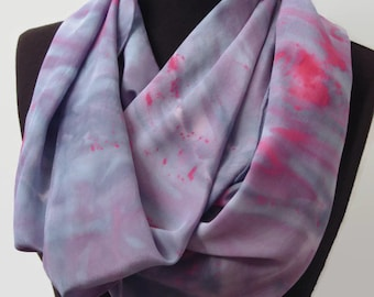 Marbled Purple Hand Dyed Crepe de Chine Silk Scarf