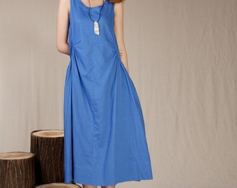 Summer dress Loose fitting Long Sundress Maxi Dresss in Green (more colour and size choice)-NS31