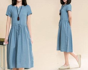 Maxi Dress Loose Fitting Sundress Short Sleeve Summer Dress in Blue