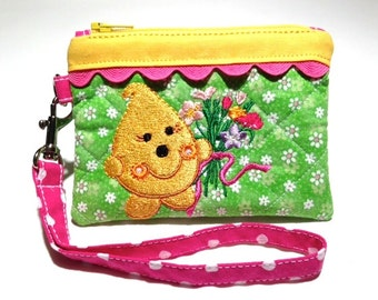 Flower Bouquet Parker Wristlet - Quilted Embroidered in Green Pink and Yellow