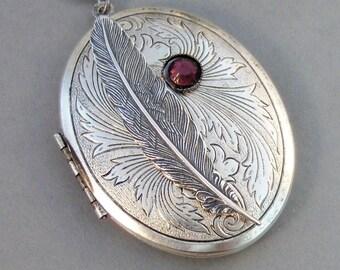Inner Spirit,Locket,Silver,Feather,Birthstone,Silver Locket,Necklace,Antique Locket,Feather,Feather Locket,Angel Locket. valleygirldesigns.