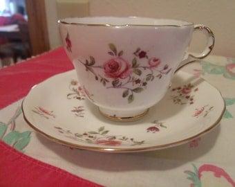 Vintage Porcelain Teacup & Saucer,  Bone China,  Melba, England, Longton England, Pink Roses, Purple Violets