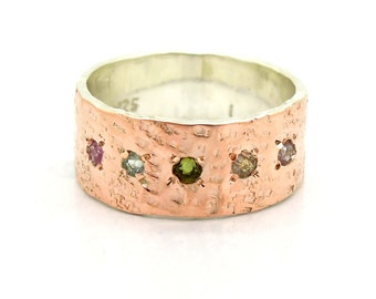 Tourmaline ring set in hammered rose gold & silver