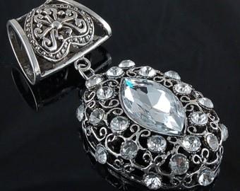 Scarf Pendant - Bold and Beautiful Crystal Rhinestone Vintage Style Scarf Jewelry