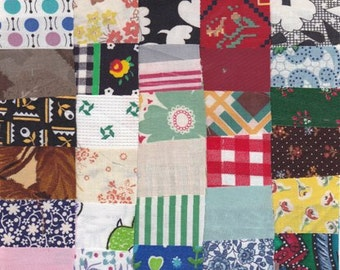 Fabric Precut 1 1/2 Inch Square Pieces, 50 Cotton Material Ready 4 Charm Quilting, Scrapbooking Projects, Vintage Variety ~ Est 12
