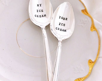 Hand Stamped Ice Cream Spoons - my ice cream and your ice cream spoons - Blithe Vintage