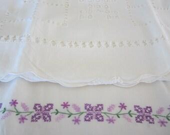 Vintage Pillowcases Embroidered Needlework Set of 2