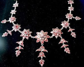 Antique Garnet Necklace Layered Floral Victorian - Downton Abbey Style