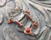 Poppy Jasper Heart Gemstone Earrings -Poppy Art- Brown, Earthy, Dark Red, Orange on Copper