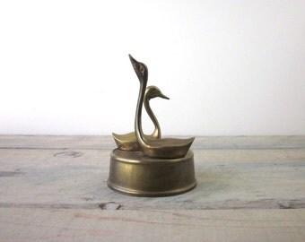 Vintage Brass Swans Figurine