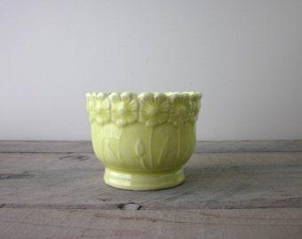Vintage Yellow Pottery Planter