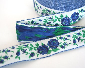 Floral cotton trim. Ribbon, woven, roses, blue, green, white, vintage, 1 inch width, fancy, yardage, spool.