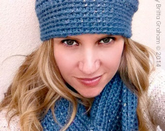 Crochet Cowl and Hat Pattern for Women using Chunky Yarn No.514 Digital Download