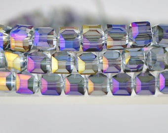 Cube Crystal Glass Faceted  Square beads 8mm Purple - FZ0812/ 70pcs