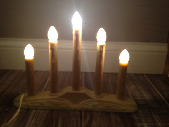 Vintage electric candle lights plastic cream yellow by for Window lights