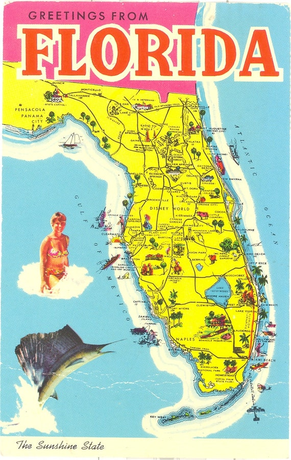 Vintage Florida Postcard Greetings From by savannahsmiles4u – Florida Tourist Attractions Map