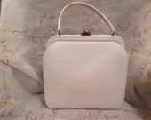 Vintage 50s Theodor California White Patent Pocketbook Glam Hollywood Style Old Fashion Purse