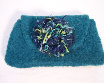 Teal Green Clutch, Felted Wool Handbag, Felted Wool Purse, Small Knit Bag, Knit Felted Wool Bag, Fabric Lined Clutch, Bridesmaid Clutch Bag