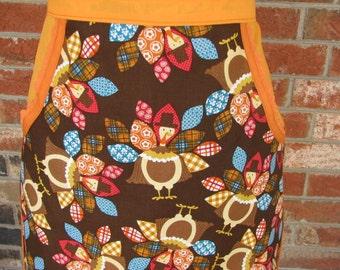 Now Sale Price on Ladies Thanksgiving Turkey Harvest Print Half Apron