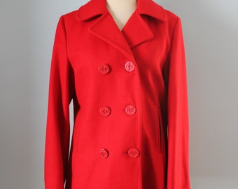 1970s Woolrich peacoat / 70s classic red wool coat